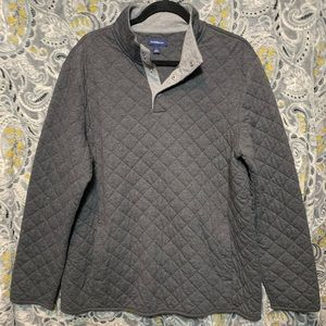 CROFT&BARROW Men's Large Gray Quilted Pullover